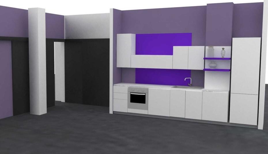 cucina a parete con inserti viola