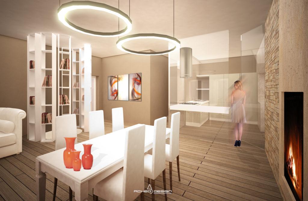 Progetto Soggiorno open space - Acheo Design